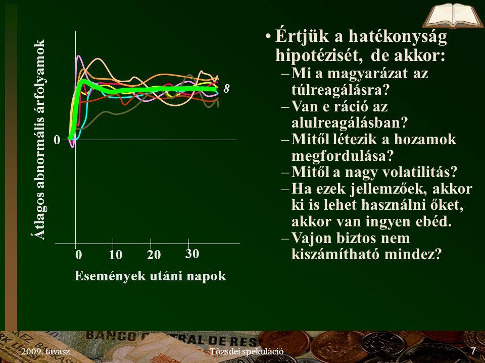 2009. tavaszTőzsdei spekuláció7 0 01020 30 Átlagos abnormális árfolyamok Események utáni napok 8 Értjük a hatékonyság hipotézisét, de akkor: –Mi a mag