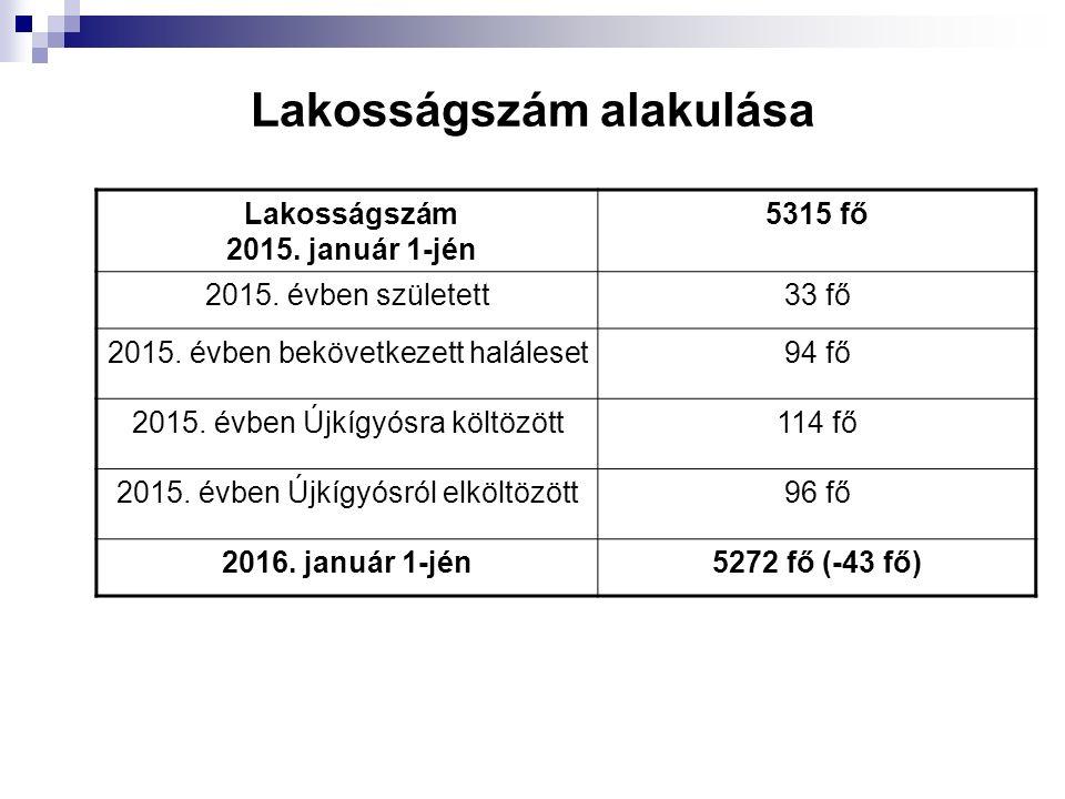 Lakosságszám alakulása Lakosságszám 2015. január 1-jén 5315 fő 2015. évben született33 fő 2015. évben bekövetkezett haláleset94 fő 2015. évben Újkígyó