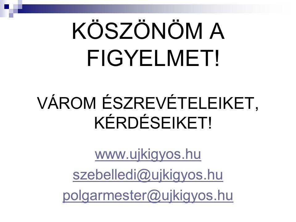 KÖSZÖNÖM A FIGYELMET! VÁROM ÉSZREVÉTELEIKET, KÉRDÉSEIKET! www.ujkigyos.hu szebelledi@ujkigyos.hu polgarmester@ujkigyos.hu