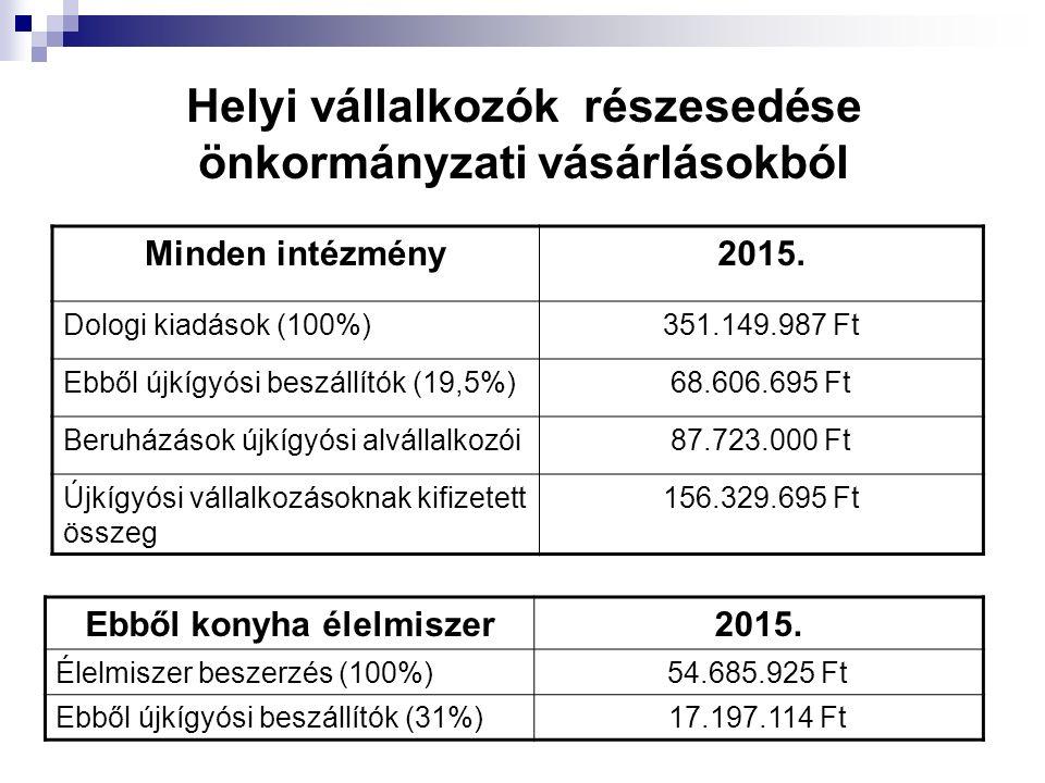 Helyi vállalkozók részesedése önkormányzati vásárlásokból Minden intézmény2015. Dologi kiadások (100%)351.149.987 Ft Ebből újkígyósi beszállítók (19,5