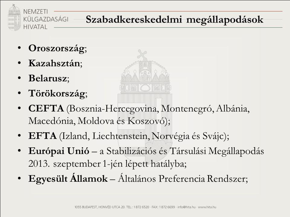 Szabadkereskedelmi megállapodások Oroszország; Kazahsztán; Belarusz; Törökország; CEFTA (Bosznia-Hercegovina, Montenegró, Albánia, Macedónia, Moldova és Koszovó); EFTA (Izland, Liechtenstein, Norvégia és Svájc); Európai Unió – a Stabilizációs és Társulási Megállapodás 2013.