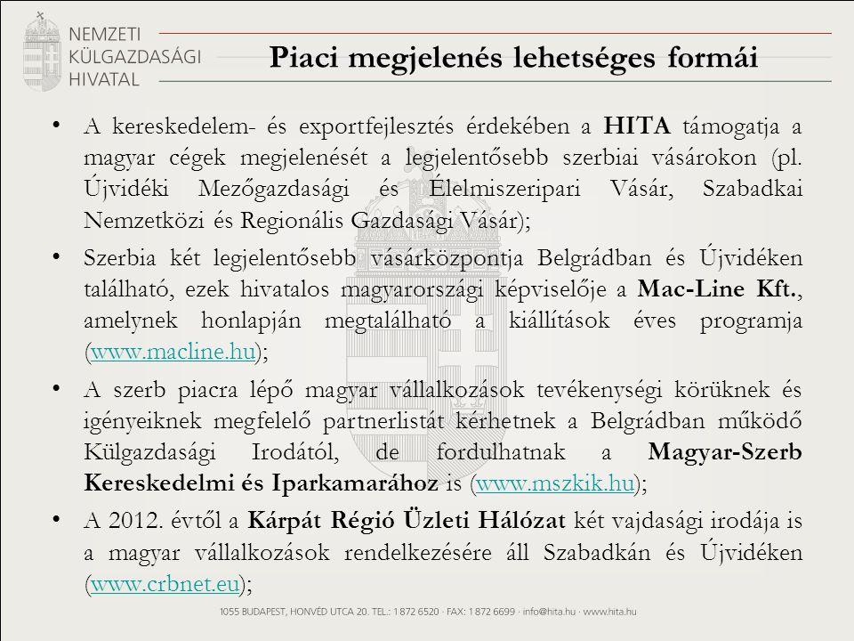 Piaci megjelenés lehetséges formái A kereskedelem- és exportfejlesztés érdekében a HITA támogatja a magyar cégek megjelenését a legjelentősebb szerbiai vásárokon (pl.