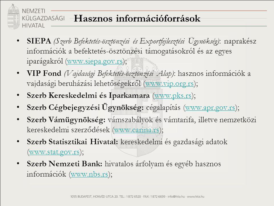 Hasznos információforrások SIEPA (Szerb Befektetés-ösztönzési és Exportfejlesztési Ügynökség): naprakész információk a befektetés-ösztönzési támogatásokról és az egyes iparágakról (www.siepa.gov.rs);www.siepa.gov.rs VIP Fond (Vajdasági Befektetés-ösztönzési Alap): hasznos információk a vajdasági beruházási lehetőségekről (www.vip.org.rs);www.vip.org.rs Szerb Kereskedelmi és Iparkamara (www.pks.rs);www.pks.rs Szerb Cégbejegyzési Ügynökség: cégalapítás (www.apr.gov.rs);www.apr.gov.rs Szerb Vámügynökség: vámszabályok és vámtarifa, illetve nemzetközi kereskedelmi szerződések (www.carina.rs);www.carina.rs Szerb Statisztikai Hivatal: kereskedelmi és gazdasági adatok (www.stat.gov.rs);www.stat.gov.rs Szerb Nemzeti Bank: hivatalos árfolyam és egyéb hasznos információk (www.nbs.rs);www.nbs.rs