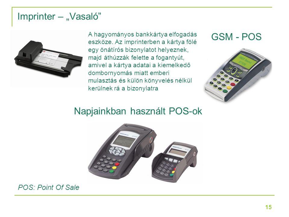 """15 Imprinter – """"Vasaló Napjainkban használt POS-ok POS: Point Of Sale GSM - POS A hagyományos bankkártya elfogadás eszköze."""