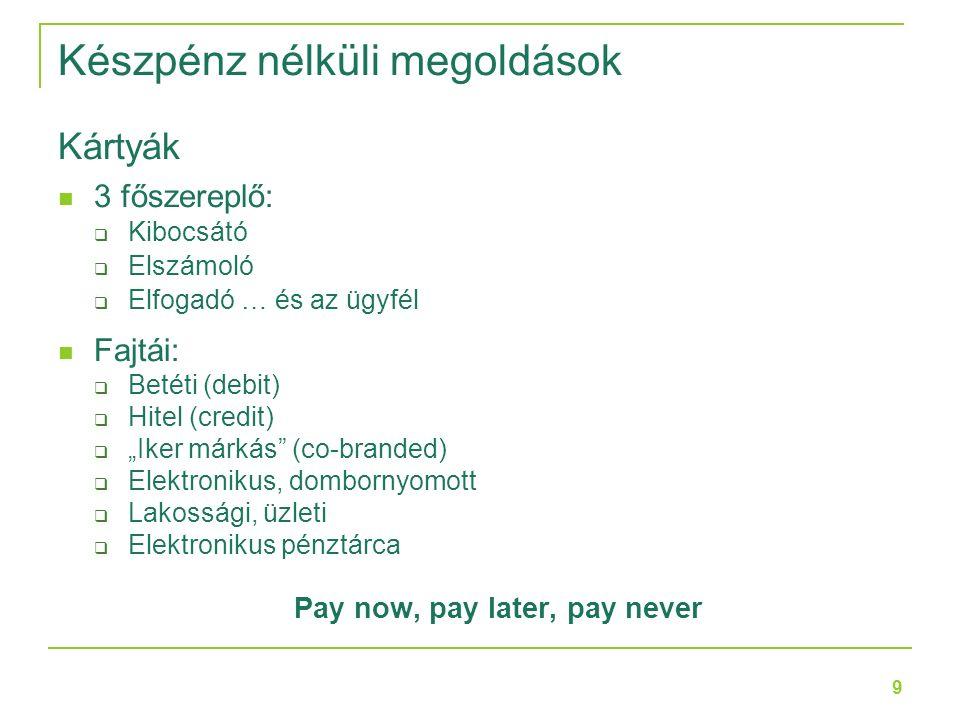 """9 Kártyák 3 főszereplő:  Kibocsátó  Elszámoló  Elfogadó … és az ügyfél Fajtái:  Betéti (debit)  Hitel (credit)  """"Iker márkás (co-branded)  Elektronikus, dombornyomott  Lakossági, üzleti  Elektronikus pénztárca Pay now, pay later, pay never Készpénz nélküli megoldások"""