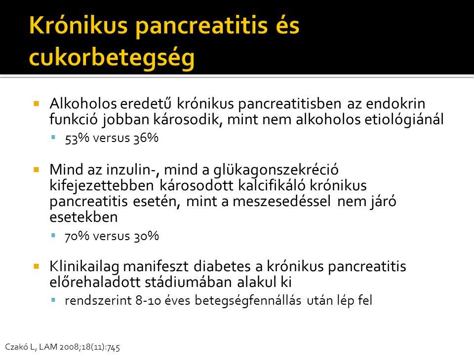  Alkoholos eredetű krónikus pancreatitisben az endokrin funkció jobban károsodik, mint nem alkoholos etiológiánál  53% versus 36%  Mind az inzulin-, mind a glükagonszekréció kifejezettebben károsodott kalcifikáló krónikus pancreatitis esetén, mint a meszesedéssel nem járó esetekben  70% versus 30%  Klinikailag manifeszt diabetes a krónikus pancreatitis előrehaladott stádiumában alakul ki  rendszerint 8-10 éves betegségfennállás után lép fel Czakó L, LAM 2008;18(11):745