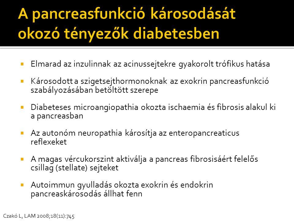  Elmarad az inzulinnak az acinussejtekre gyakorolt trófikus hatása  Károsodott a szigetsejthormonoknak az exokrin pancreasfunkció szabályozásában betöltött szerepe  Diabeteses microangiopathia okozta ischaemia és fibrosis alakul ki a pancreasban  Az autonóm neuropathia károsítja az enteropancreaticus reflexeket  A magas vércukorszint aktiválja a pancreas fibrosisáért felelős csillag (stellate) sejteket  Autoimmun gyulladás okozta exokrin és endokrin pancreaskárosodás állhat fenn Czakó L, LAM 2008;18(11):745