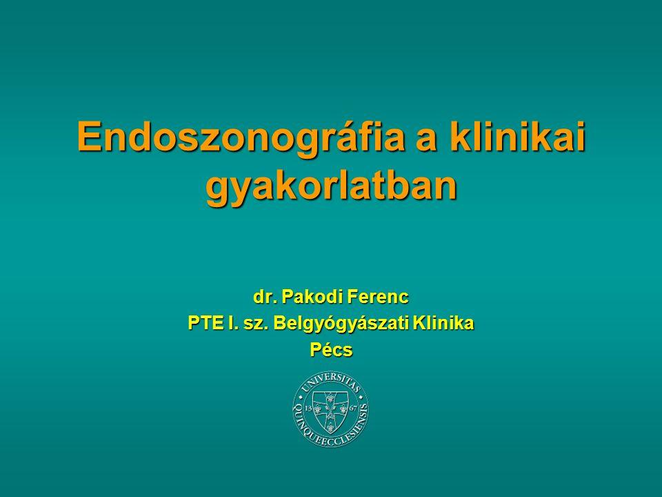 Endoszonográfia a klinikai gyakorlatban dr. Pakodi Ferenc PTE I.