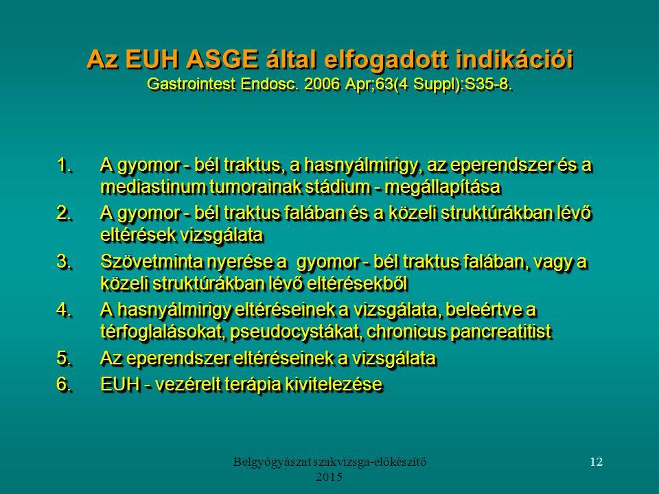 Belgyógyászat szakvizsga-előkészítő 2015 12 Az EUH ASGE által elfogadott indikációi Gastrointest Endosc.