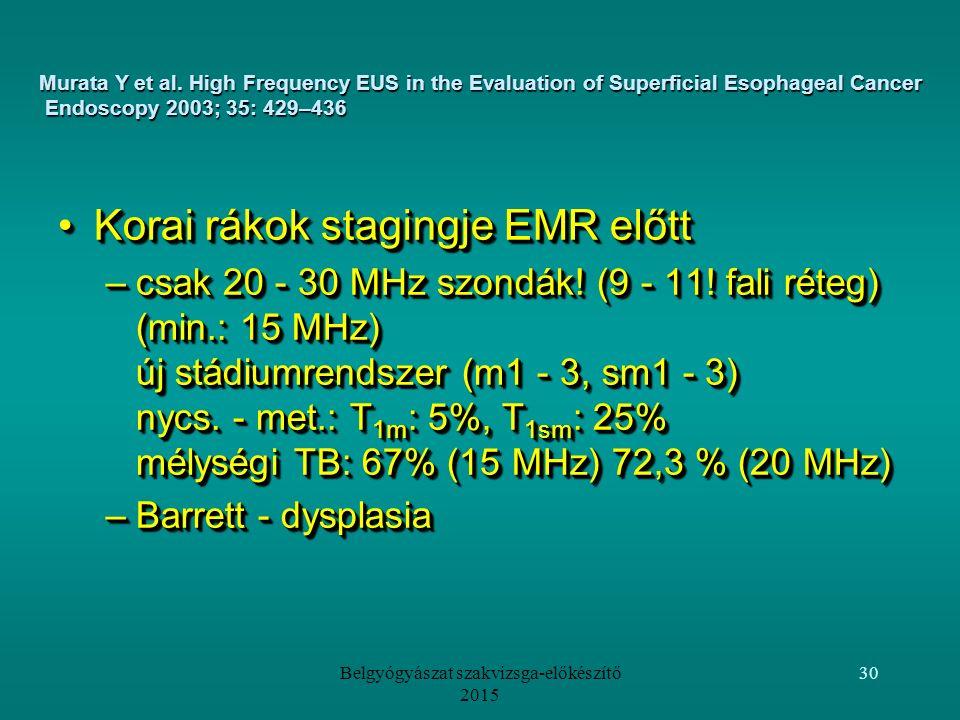 Belgyógyászat szakvizsga-előkészítő 2015 30 Korai rákok stagingje EMR előttKorai rákok stagingje EMR előtt –csak 20 - 30 MHz szondák.