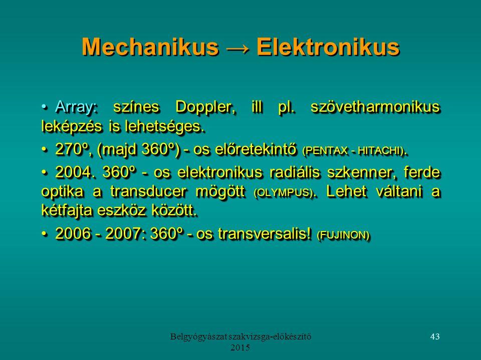 Belgyógyászat szakvizsga-előkészítő 2015 43 Array: színes Doppler, ill pl.