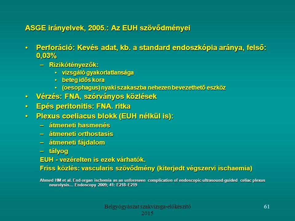 Belgyógyászat szakvizsga-előkészítő 2015 61 ASGE irányelvek, 2005.: Az EUH szövődményei Perforáció: Kevés adat, kb.
