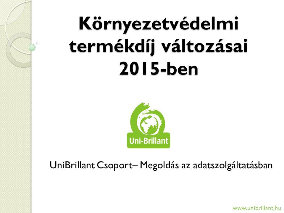 Környezetvédelmi termékdíj változásai 2015-ben UniBrillant Csoport– Megoldás az adatszolgáltatásban www.unibrillant.hu