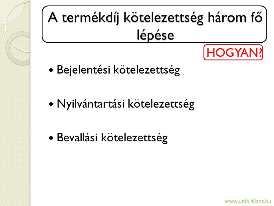 A termékdíj kötelezettség három fő lépése HOGYAN? Bejelentési kötelezettség Nyilvántartási kötelezettség Bevallási kötelezettség www.unibrillant.hu