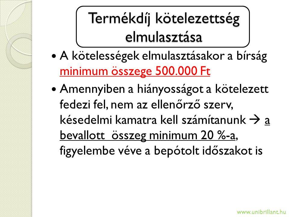 Termékdíj kötelezettség elmulasztása A kötelességek elmulasztásakor a bírság minimum összege 500.000 Ft Amennyiben a hiányosságot a kötelezett fedezi