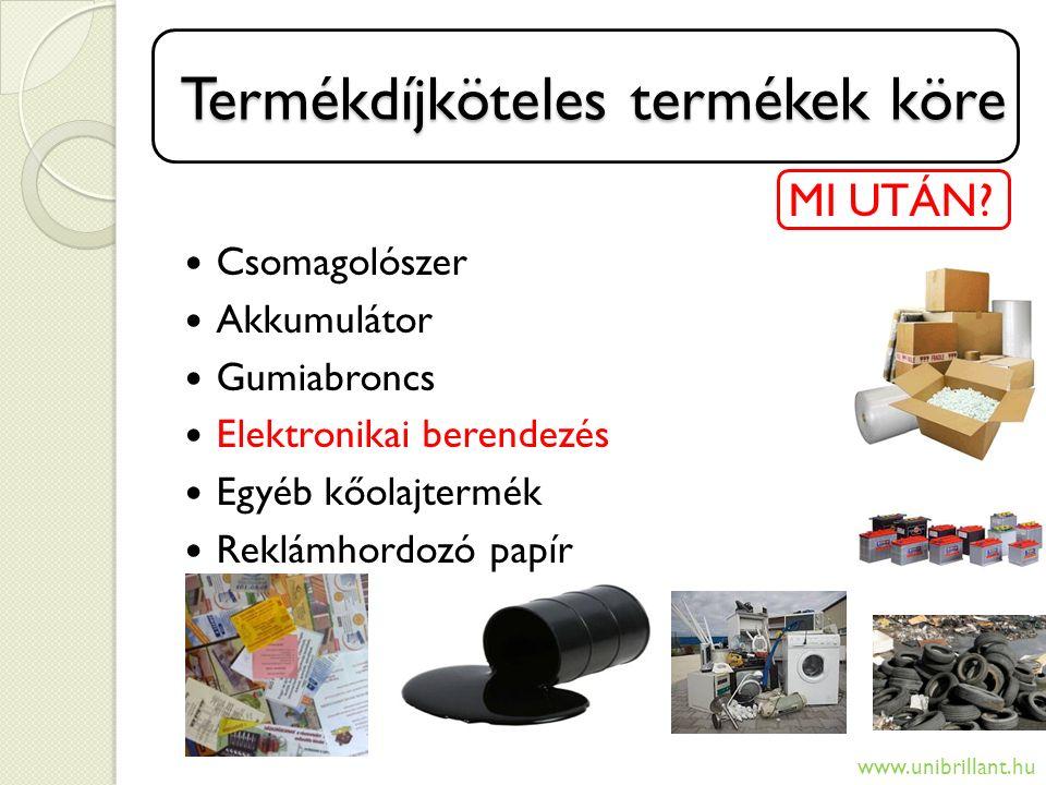 Új díjköteles termékek Új díjköteles termékek MI UTÁN.