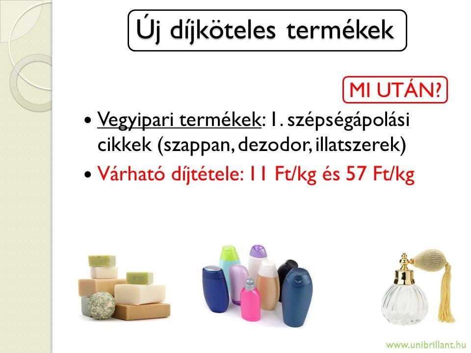 Új díjköteles termékek Új díjköteles termékek MI UTÁN? Vegyipari termékek: 1. szépségápolási cikkek (szappan, dezodor, illatszerek) Várható díjtétele: