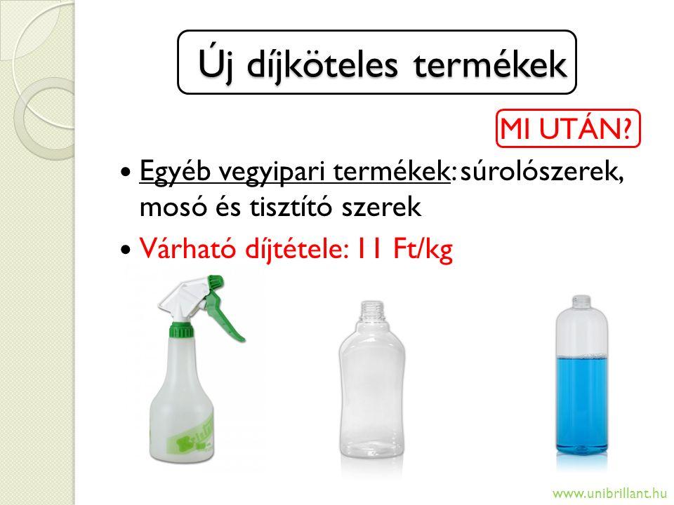 Új díjköteles termékek MI UTÁN? Egyéb vegyipari termékek: súrolószerek, mosó és tisztító szerek Várható díjtétele: 11 Ft/kg www.unibrillant.hu