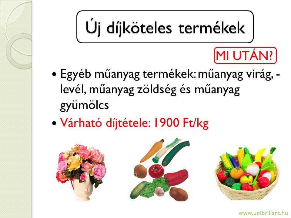 Új díjköteles termékek MI UTÁN? Egyéb műanyag termékek: műanyag virág, - levél, műanyag zöldség és műanyag gyümölcs Várható díjtétele: 1900 Ft/kg www.