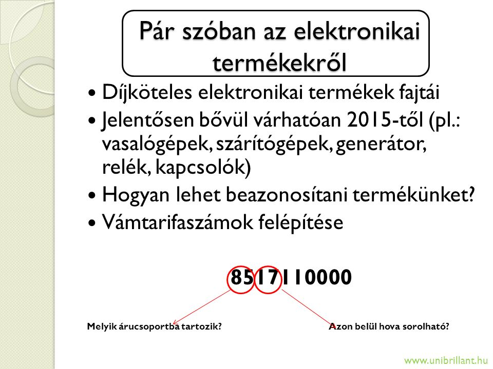 Pár szóban az elektronikai termékekről Díjköteles elektronikai termékek fajtái Jelentősen bővül várhatóan 2015-től (pl.: vasalógépek, szárítógépek, ge