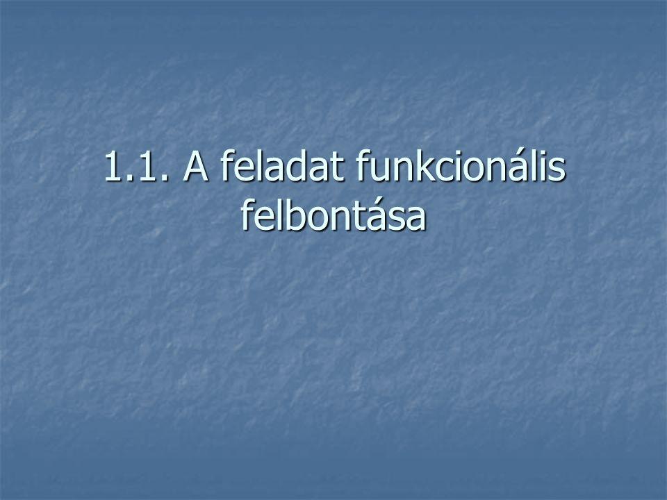 1.1. A feladat funkcionális felbontása