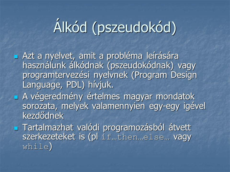 Álkód (pszeudokód) Azt a nyelvet, amit a probléma leírására használunk álkódnak (pszeudokódnak) vagy programtervezési nyelvnek (Program Design Languag