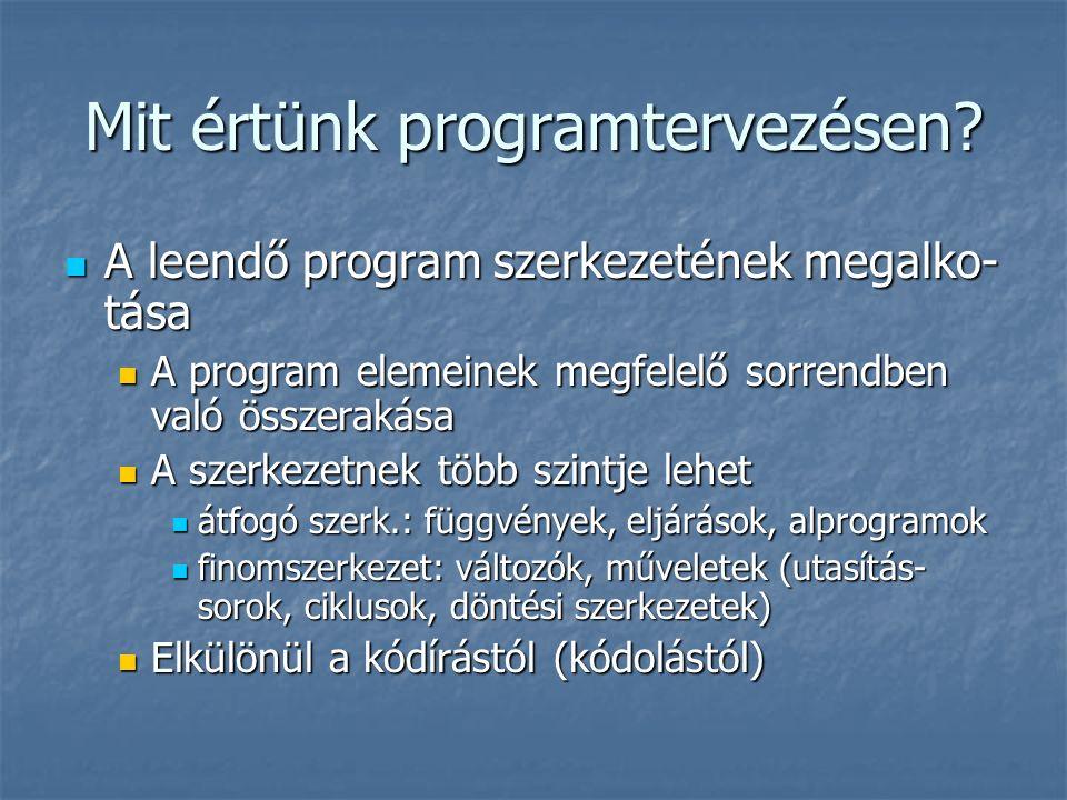 Mit értünk programtervezésen? A leendő program szerkezetének megalko- tása A leendő program szerkezetének megalko- tása A program elemeinek megfelelő