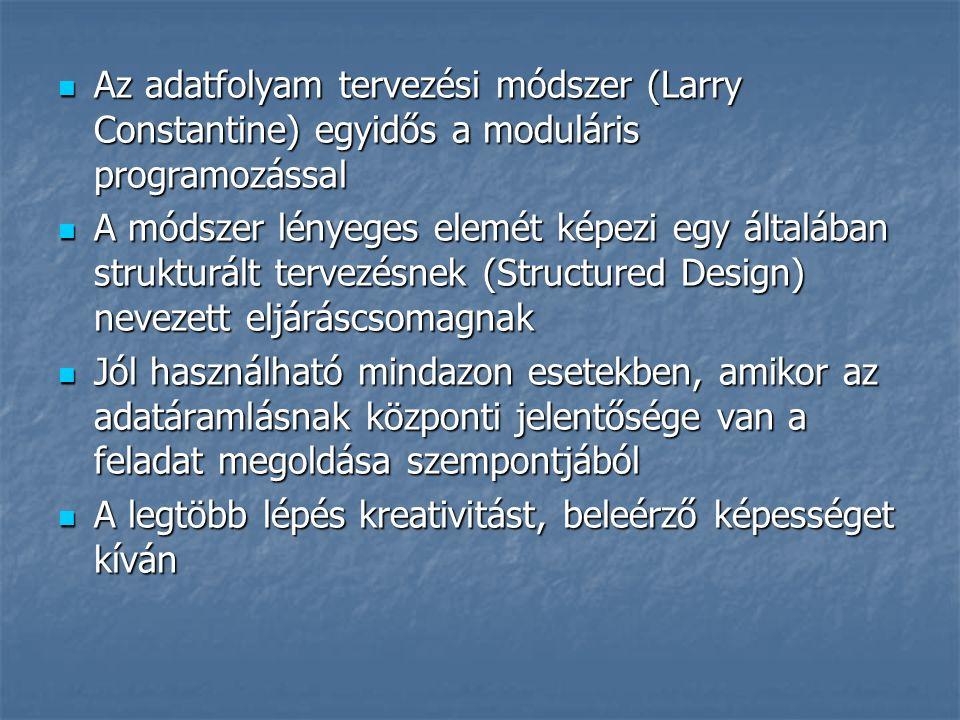 Az adatfolyam tervezési módszer (Larry Constantine) egyidős a moduláris programozással Az adatfolyam tervezési módszer (Larry Constantine) egyidős a m