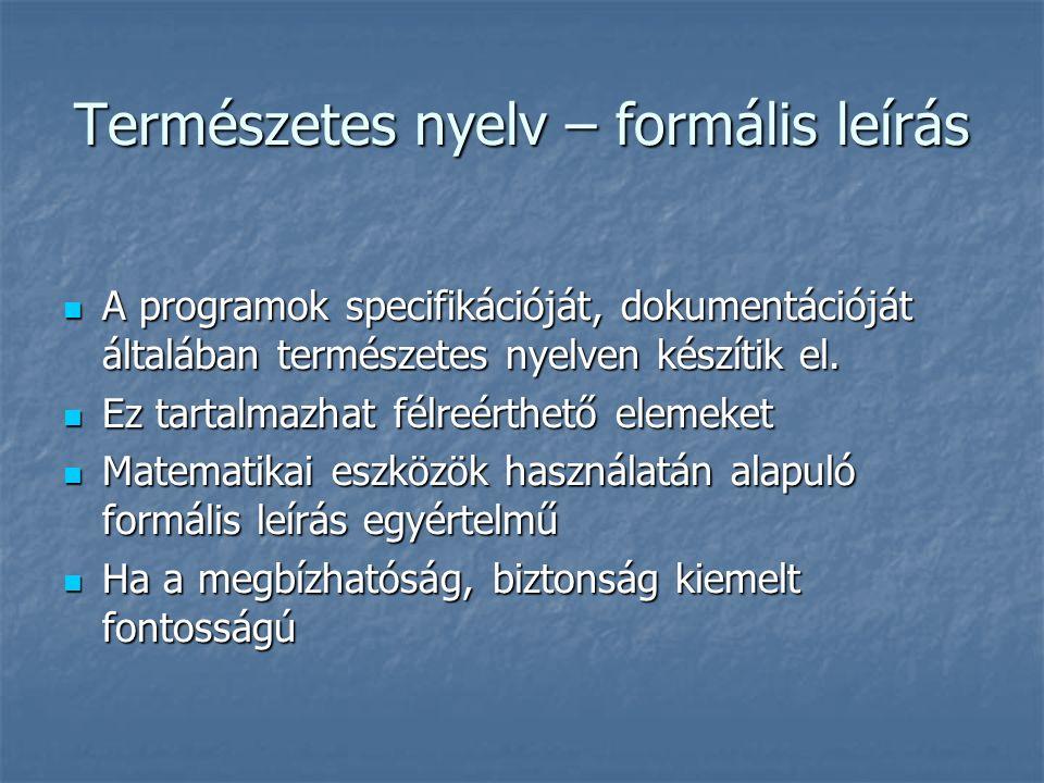A programok specifikációját, dokumentációját általában természetes nyelven készítik el. A programok specifikációját, dokumentációját általában termész