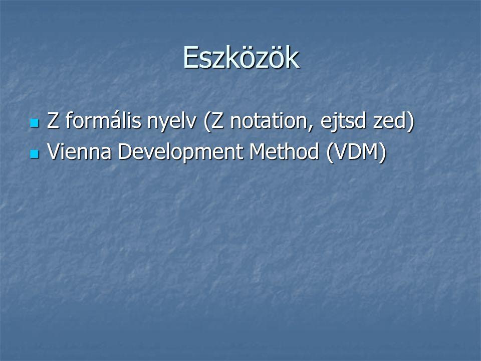 Eszközök Z formális nyelv (Z notation, ejtsd zed) Z formális nyelv (Z notation, ejtsd zed) Vienna Development Method (VDM) Vienna Development Method (