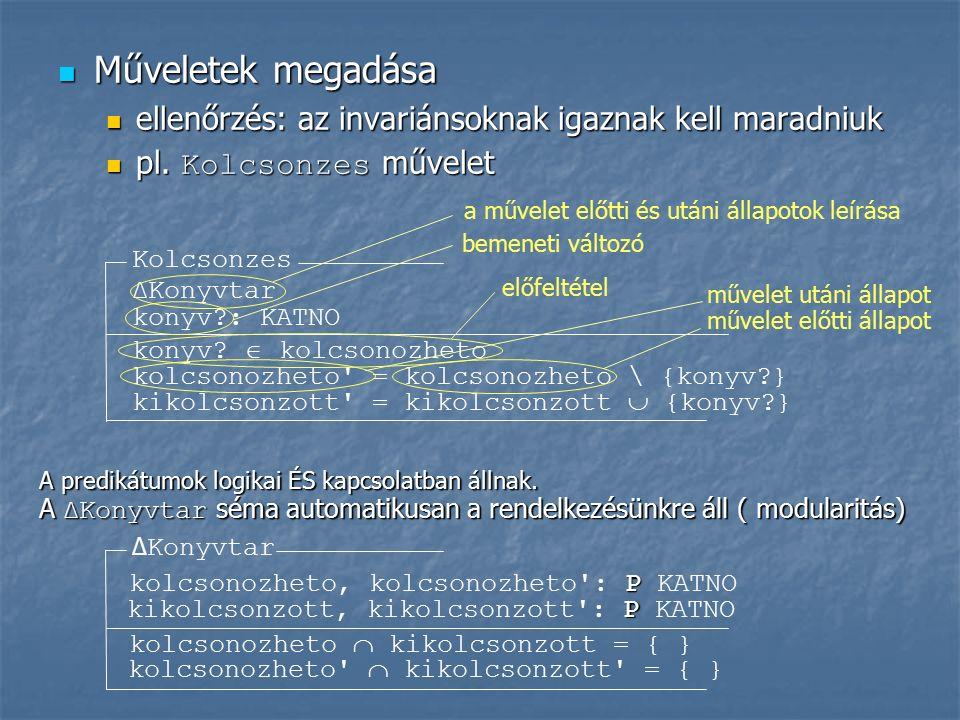 Műveletek megadása Műveletek megadása ellenőrzés: az invariánsoknak igaznak kell maradniuk ellenőrzés: az invariánsoknak igaznak kell maradniuk pl.