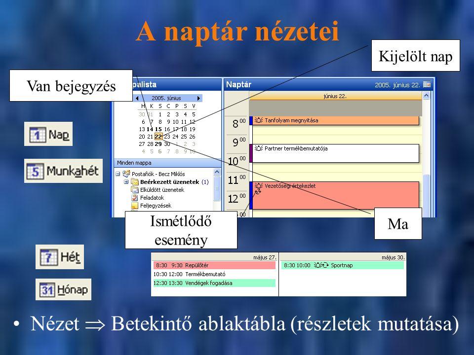 A naptár nézetei Nézet  Betekintő ablaktábla (részletek mutatása) Van bejegyzés Kijelölt nap Ma Ismétlődő esemény