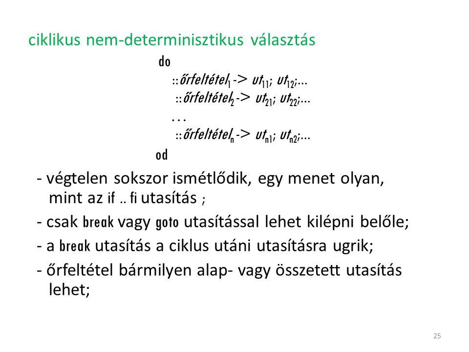ciklikus nem-determinisztikus választás do ::őrfeltétel 1 -> ut 11 ; ut 12 ;... ::őrfeltétel 2 -> ut 21 ; ut 22 ;... … ::őrfeltétel n -> ut n1 ; ut n2