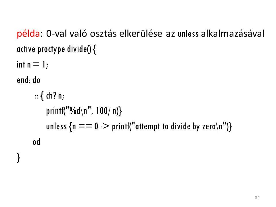 példa: 0-val való osztás elkerülése az unless alkalmazásával active proctype divide() { int n = 1; end: do :: { ch? n; printf(