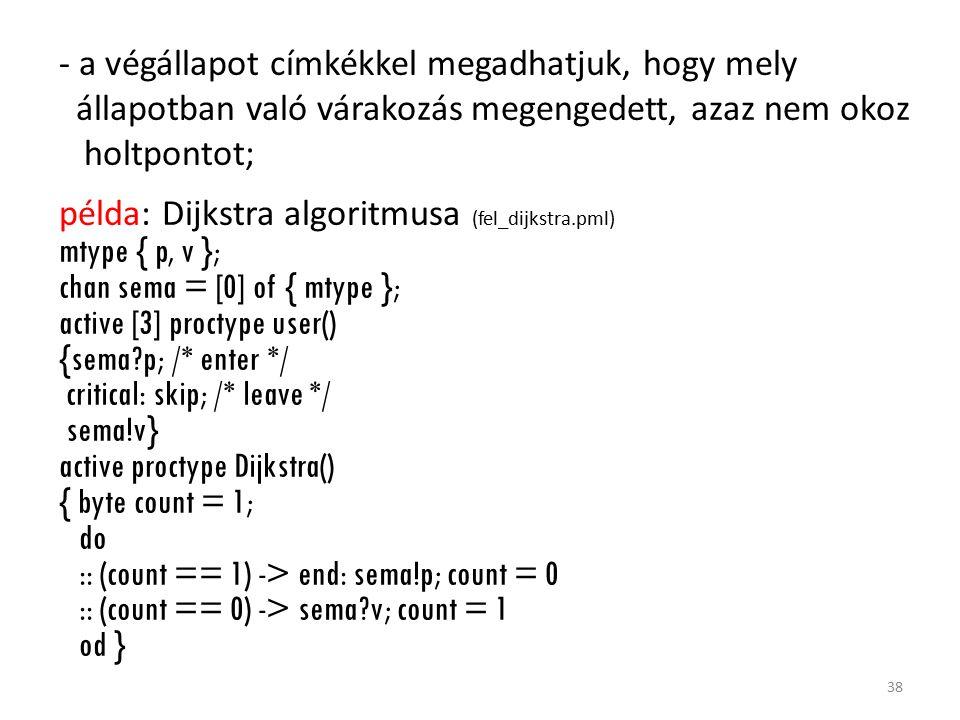 - a végállapot címkékkel megadhatjuk, hogy mely állapotban való várakozás megengedett, azaz nem okoz holtpontot; példa: Dijkstra algoritmusa (fel_dijkstra.pml) mtype { p, v }; chan sema = [0] of { mtype }; active [3] proctype user() {sema?p; /* enter */ critical: skip; /* leave */ sema!v} active proctype Dijkstra() { byte count = 1; do :: (count == 1) -> end: sema!p; count = 0 :: (count == 0) -> sema?v; count = 1 od } 38
