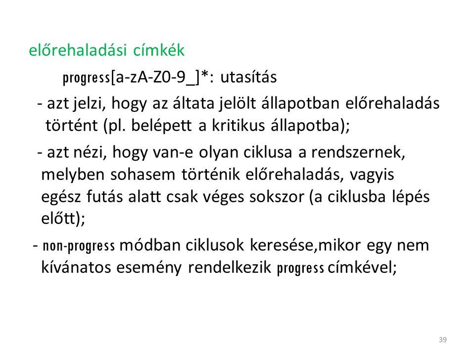 előrehaladási címkék progress [a-zA-Z0-9_]*: utasítás - azt jelzi, hogy az áltata jelölt állapotban előrehaladás történt (pl. belépett a kritikus álla