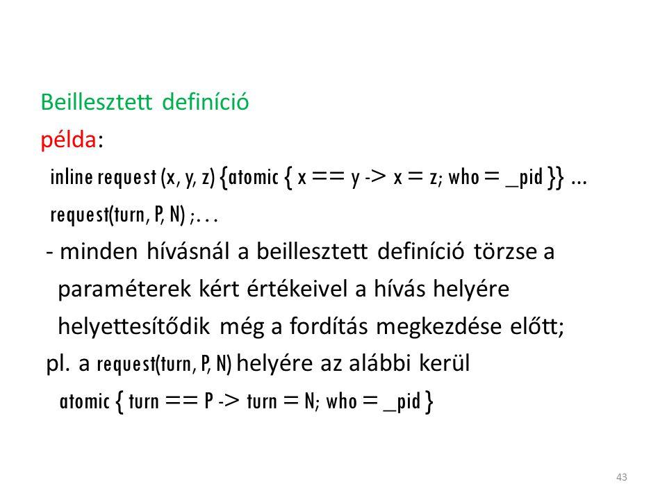 Beillesztett definíció példa: inline request (x, y, z) {atomic { x == y -> x = z; who = _pid }} … request(turn, P, N) ;… - minden hívásnál a beillesztett definíció törzse a paraméterek kért értékeivel a hívás helyére helyettesítődik még a fordítás megkezdése előtt; pl.