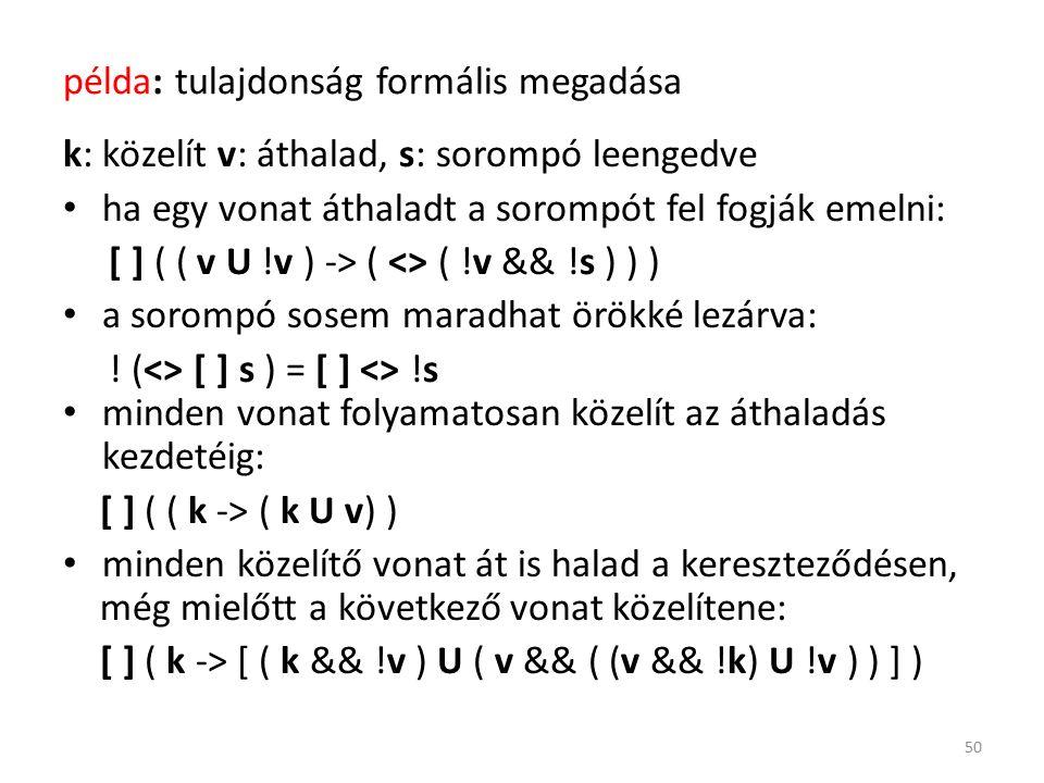 példa: tulajdonság formális megadása k: közelít v: áthalad, s: sorompó leengedve ha egy vonat áthaladt a sorompót fel fogják emelni: [ ] ( ( v U !v ) -> ( <> ( !v && !s ) ) ) a sorompó sosem maradhat örökké lezárva: .