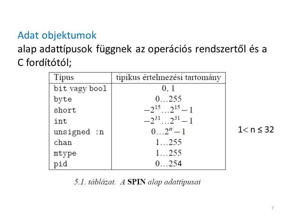 Adat objektumok alap adattípusok függnek az operációs rendszertől és a C fordítótól; 7 1  n ≤ 32 4