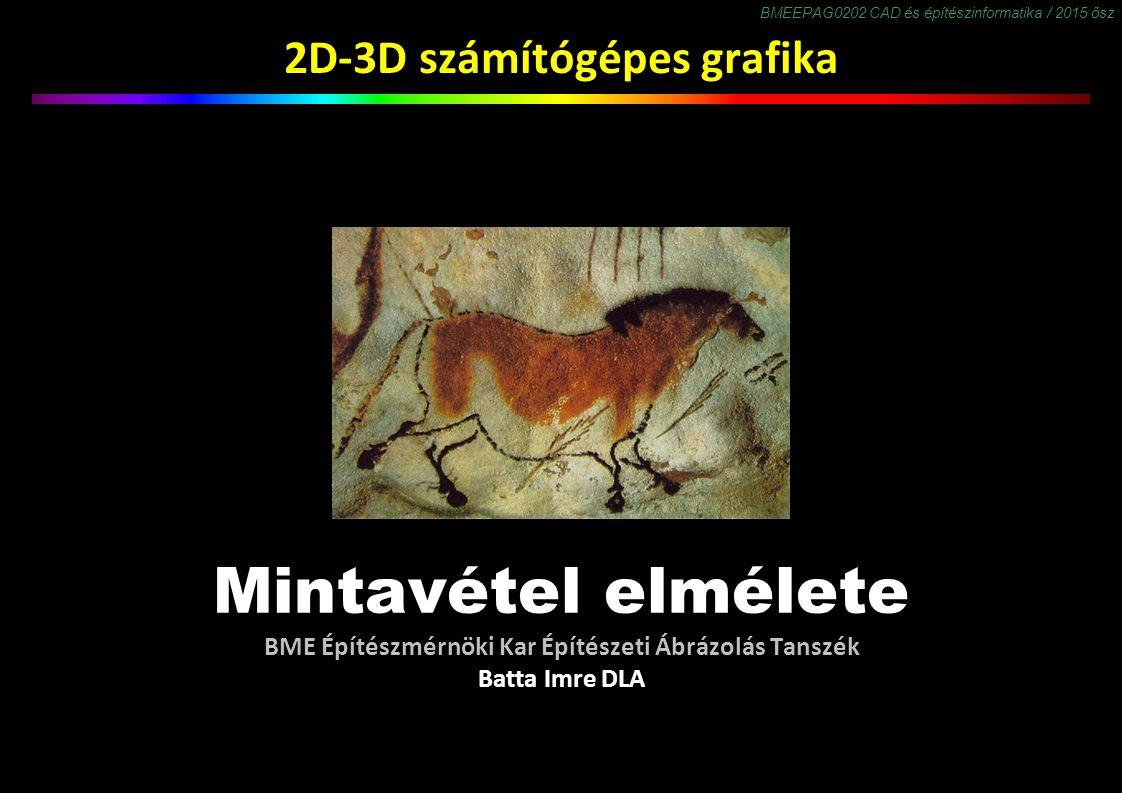 BMEEPAG0202 CAD és építészinformatika / 2015 ősz 2D-3D számítógépes grafika Mintavétel elmélete BME Építészmérnöki Kar Építészeti Ábrázolás Tanszék Batta Imre DLA