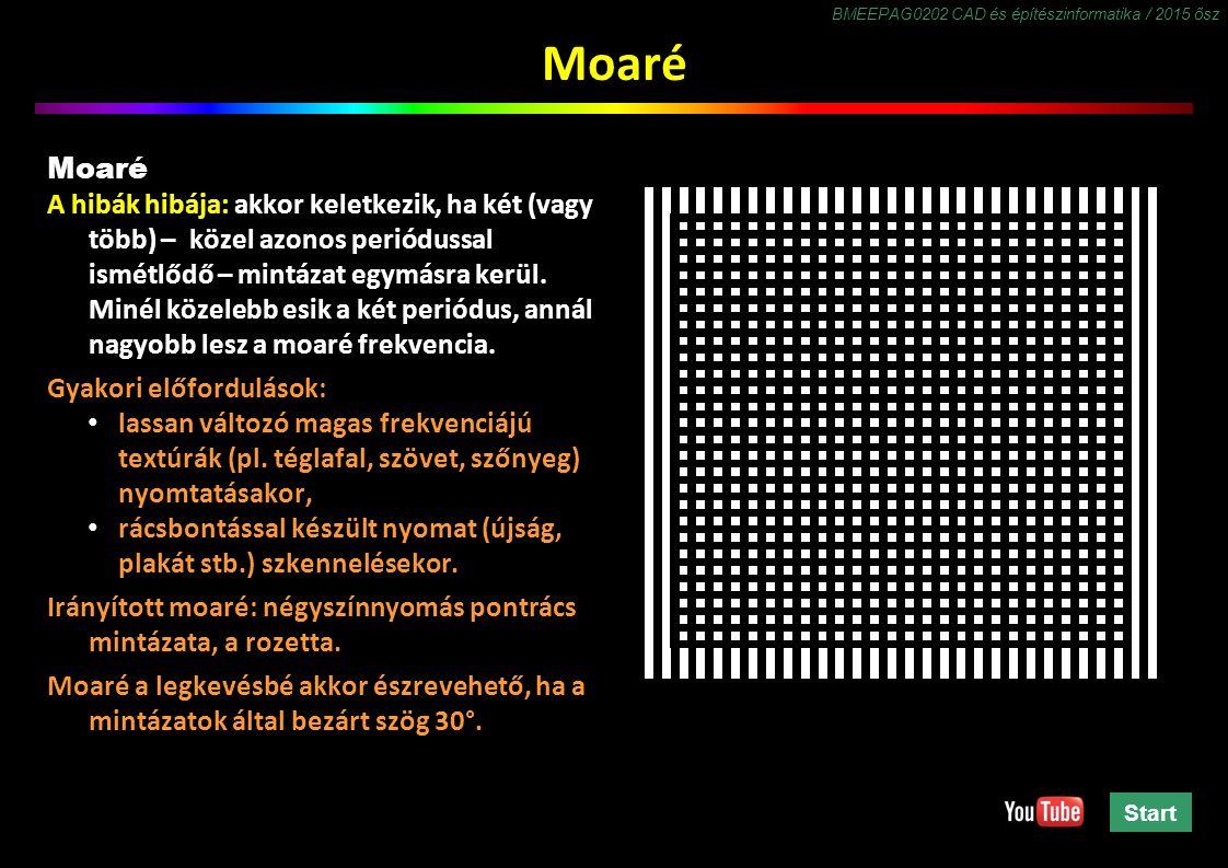 BMEEPAG0202 CAD és építészinformatika / 2015 ősz Moaré A hibák hibája: akkor keletkezik, ha két (vagy több) – közel azonos periódussal ismétlődő – mintázat egymásra kerül.