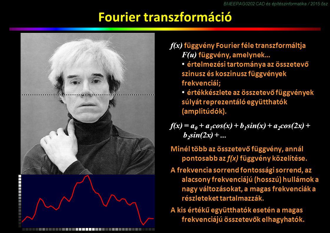 BMEEPAG0202 CAD és építészinformatika / 2015 ősz Fourier transzformáció f(x) függvény Fourier féle transzformáltja F(u) függvény, amelynek… értelmezési tartománya az összetevő szinusz és koszinusz függvények frekvenciái; értékkészlete az összetevő függvények súlyát reprezentáló együtthatók (amplitúdók).