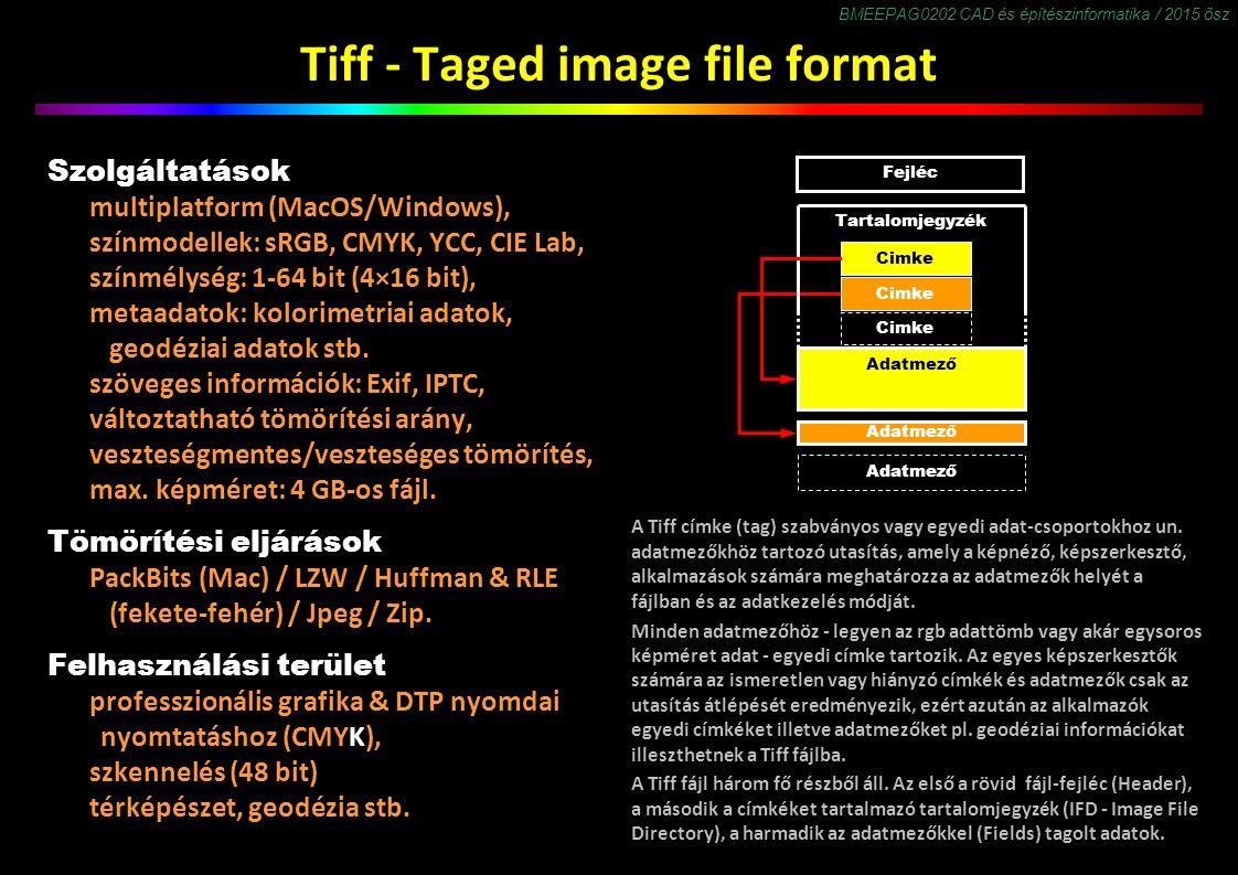 BMEEPAG0202 CAD és építészinformatika / 2015 ősz Tiff - Taged image file format Szolgáltatások multiplatform (MacOS/Windows), színmodellek: sRGB, CMYK, YCC, CIE Lab, színmélység: 1-64 bit (4×16 bit), metaadatok: kolorimetriai adatok, geodéziai adatok stb.