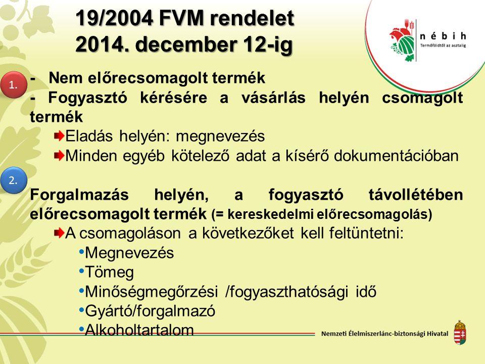 19/2004 FVM rendelet 2014. december 12-ig - Nem előrecsomagolt termék - Fogyasztó kérésére a vásárlás helyén csomagolt termék Eladás helyén: megnevezé