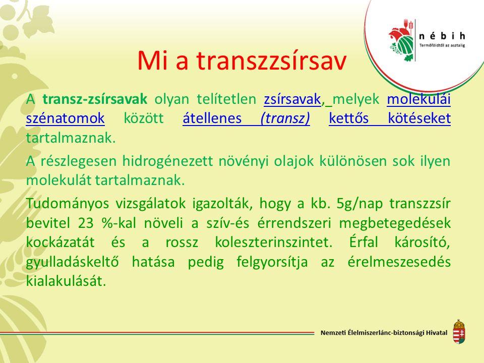 Mi a transzzsírsav A transz-zsírsavak olyan telítetlen zsírsavak, melyek molekulái szénatomok között átellenes (transz) kettős kötéseket tartalmaznak.