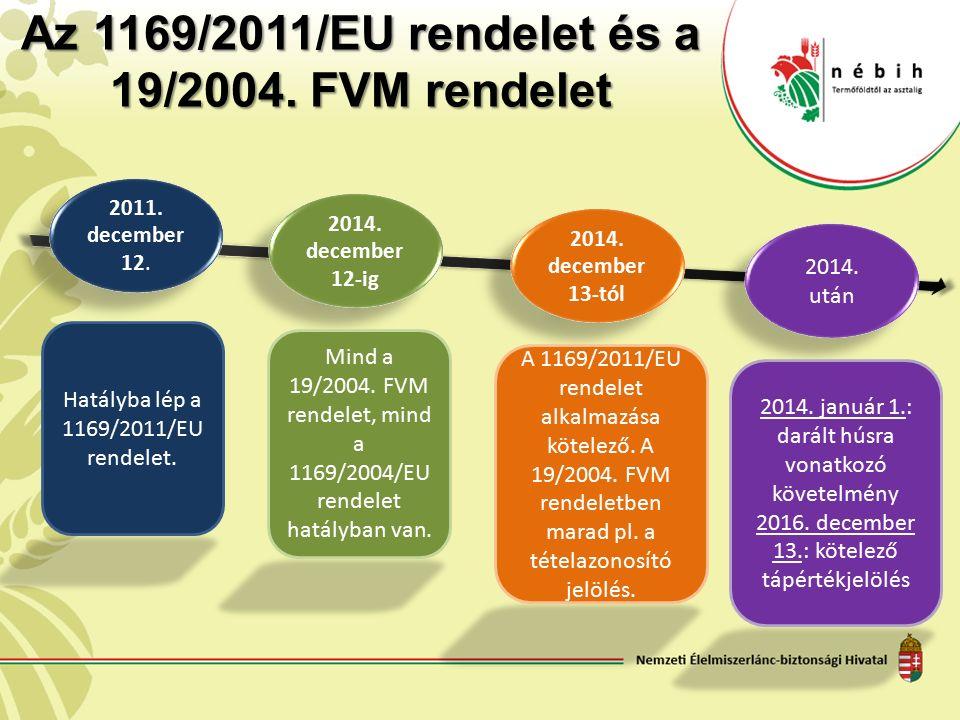 Az 1169/2011/EU rendelet és a 19/2004. FVM rendelet 2011. december 12. 2014. december 12-ig 2014. december 13-tól 2014. után Hatályba lép a 1169/2011/