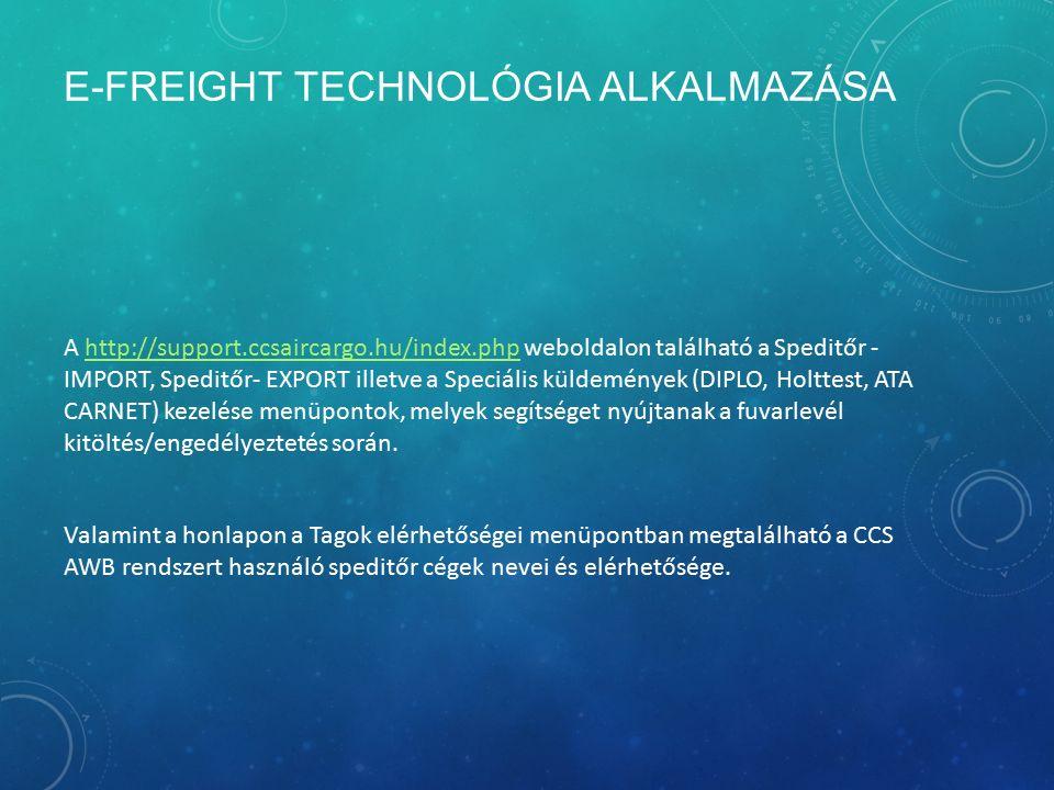 E-FREIGHT TECHNOLÓGIA ALKALMAZÁSA A http://support.ccsaircargo.hu/index.php weboldalon található a Speditőr - IMPORT, Speditőr- EXPORT illetve a Speci
