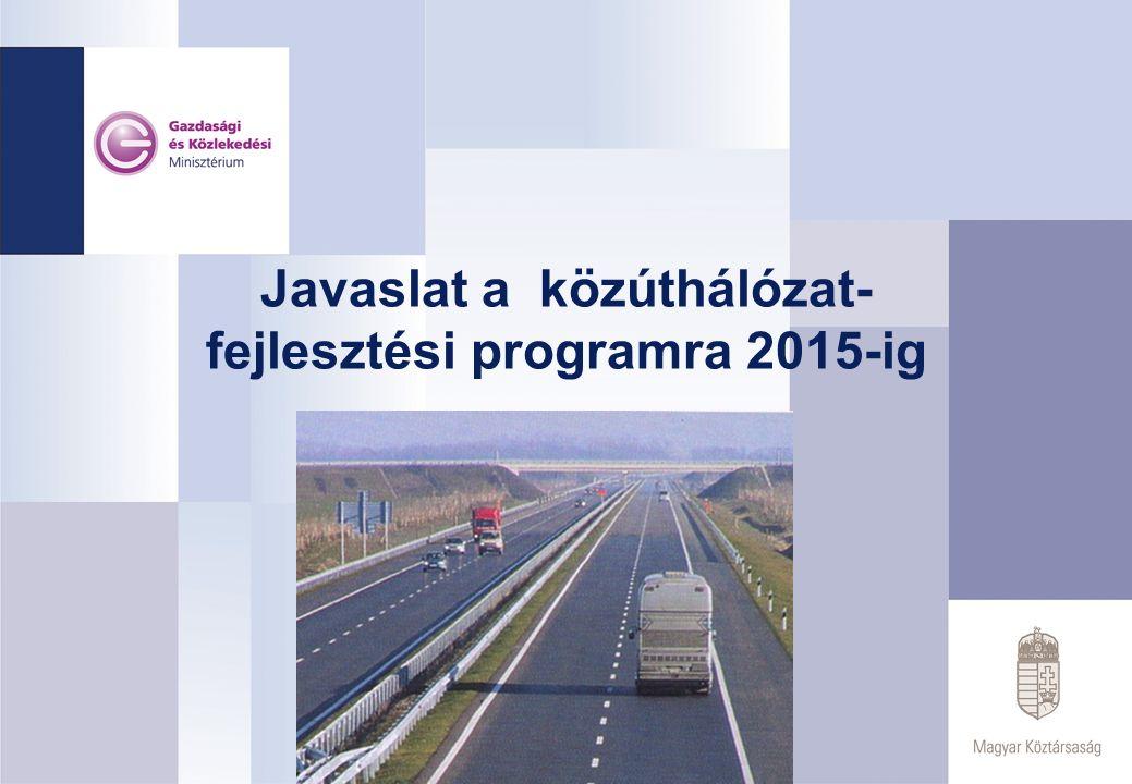 JAVASLAT A KÖZÚTHÁLÓZAT FEJLESZTÉSI PROGRAMRA 2015-IG Prioritások – a közúti infrastruktúra kiemelt fejlesztési programja 2003-2006.