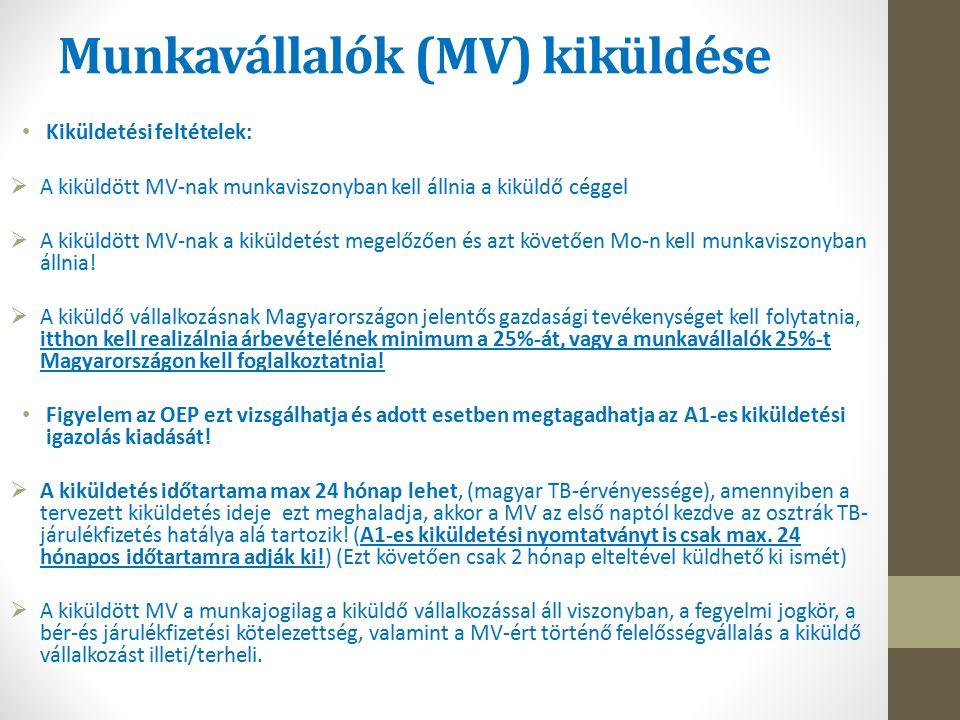Munkavállalók (MV) kiküldése Kiküldetési feltételek:  A kiküldött MV-nak munkaviszonyban kell állnia a kiküldő céggel  A kiküldött MV-nak a kiküldetést megelőzően és azt követően Mo-n kell munkaviszonyban állnia.