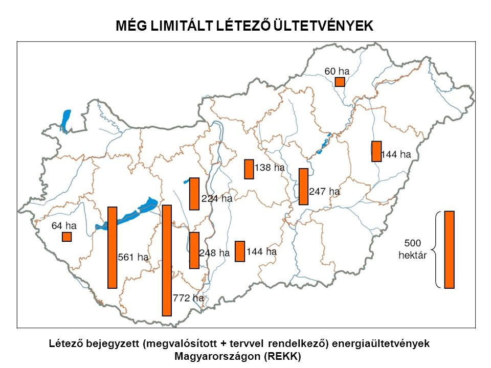 Létező bejegyzett (megvalósított + tervvel rendelkező) energiaültetvények Magyarországon (REKK) MÉG LIMITÁLT LÉTEZŐ ÜLTETVÉNYEK